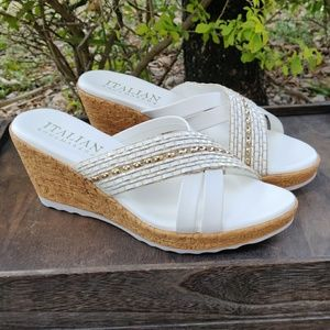 Italian White Wedge Sandals Cork Metallic Beading